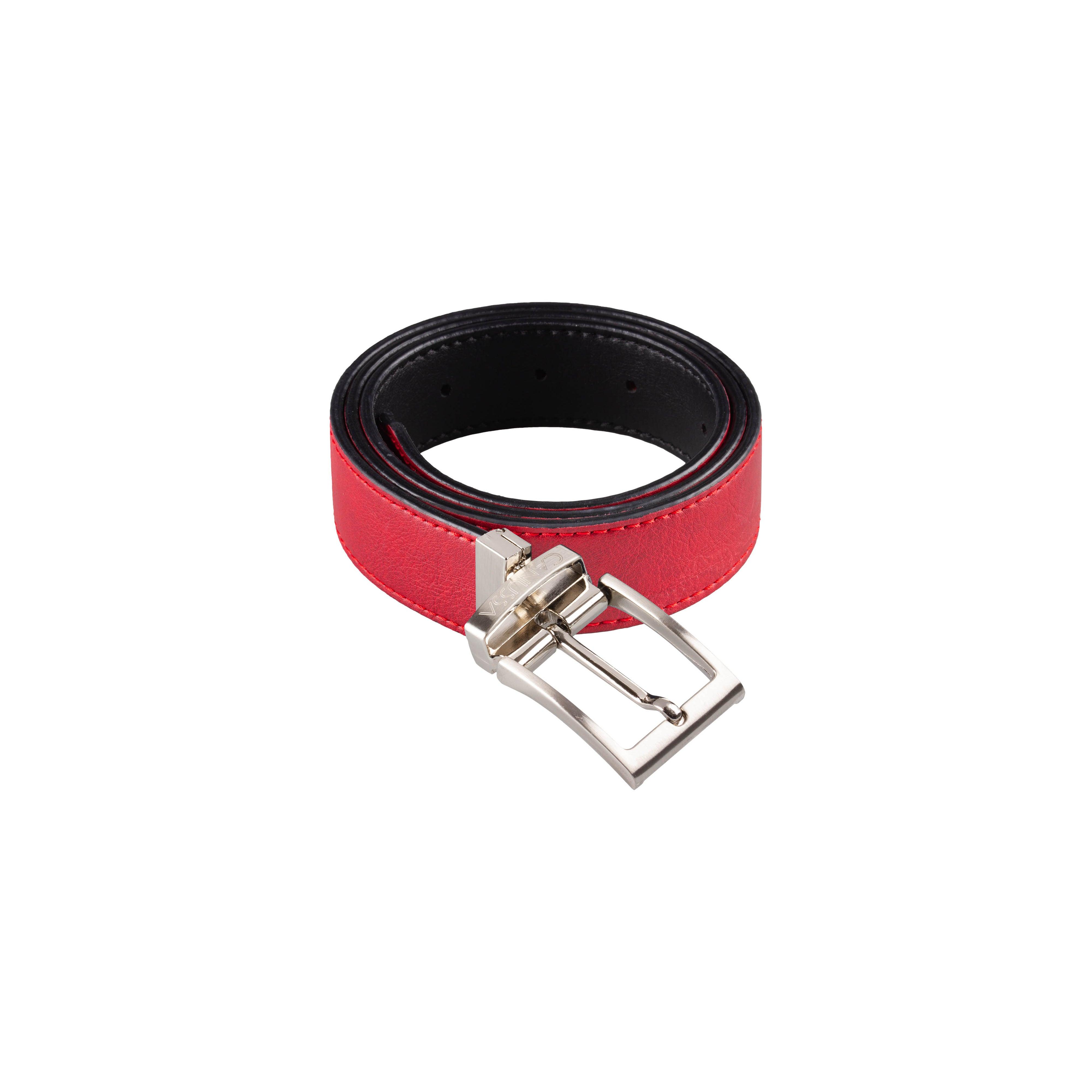 Reverse Vegan Belt – Reversible Black/Red