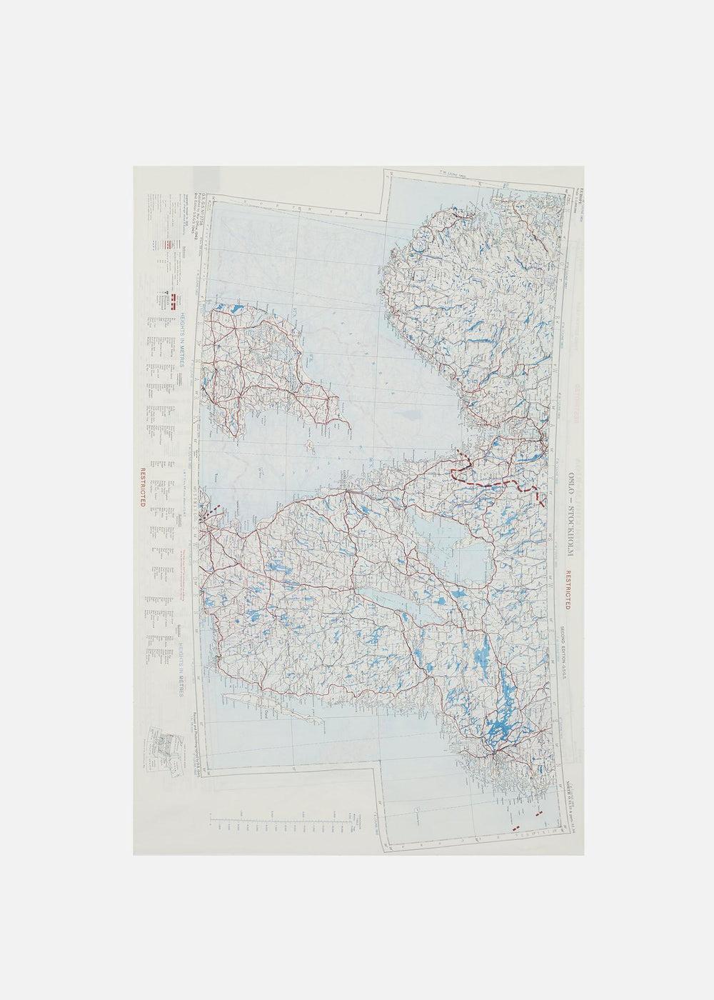 1950's SILK MAP SCARF, STOCKHOLM