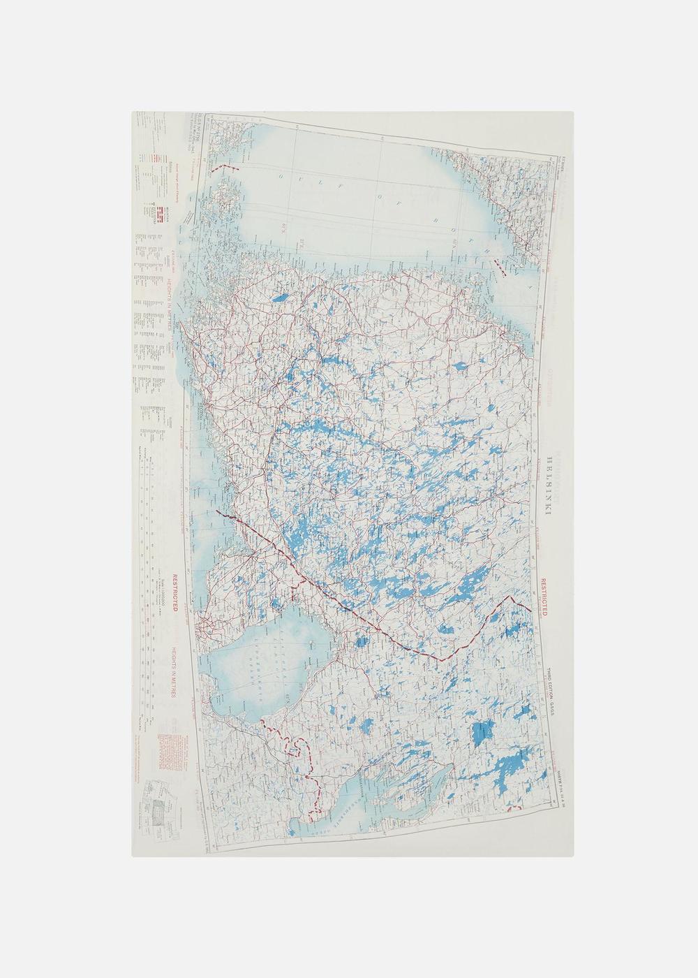 1950s SILK MAP SCARF, HELSINKI