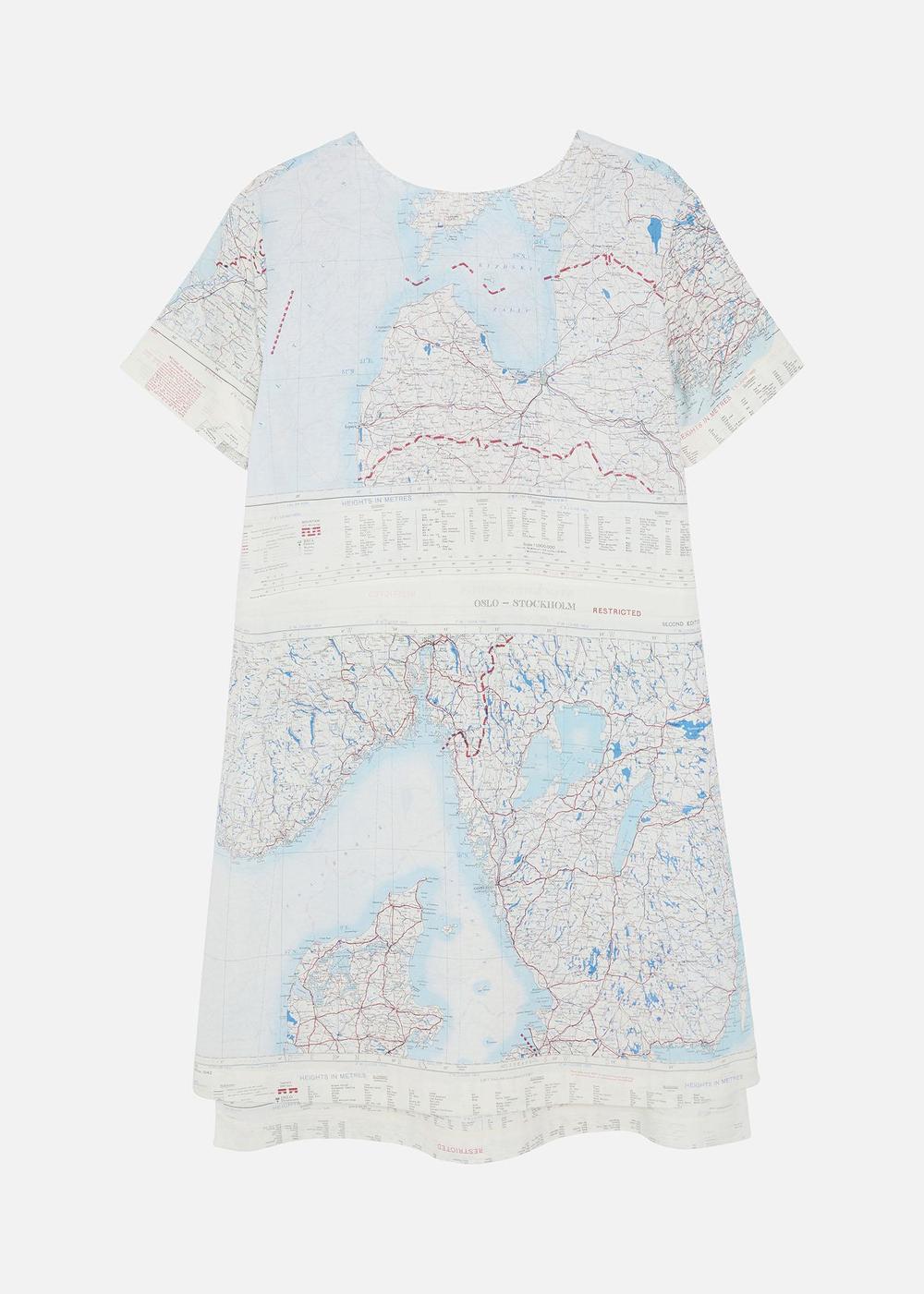 1950'S SILK MAP T-SHIRT DRESS