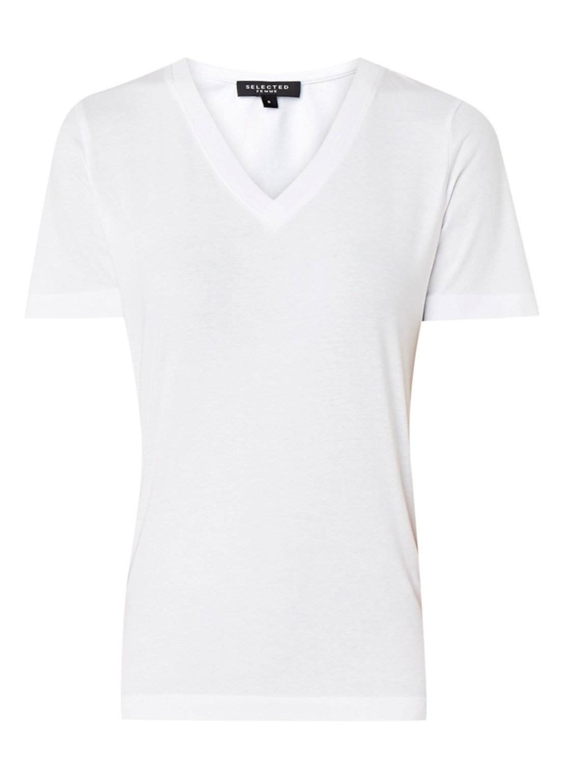 Selected Femme Standard cotton T-shirt with V-neck