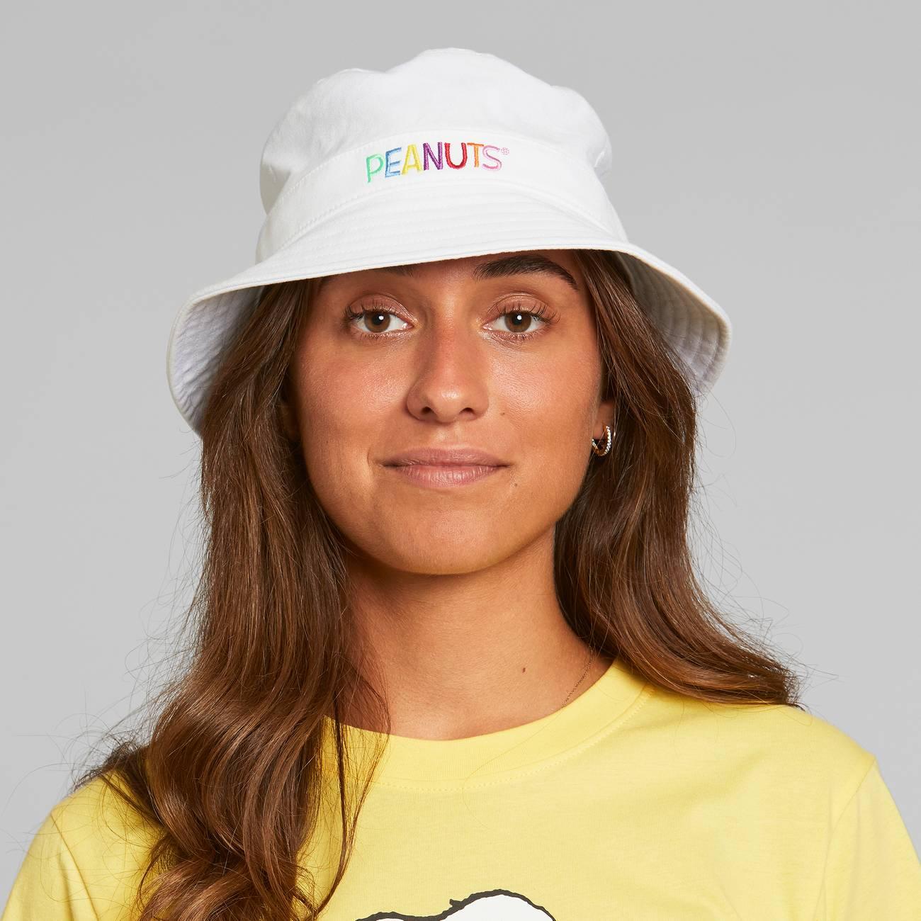 Bucket Hat Peanuts Logo White