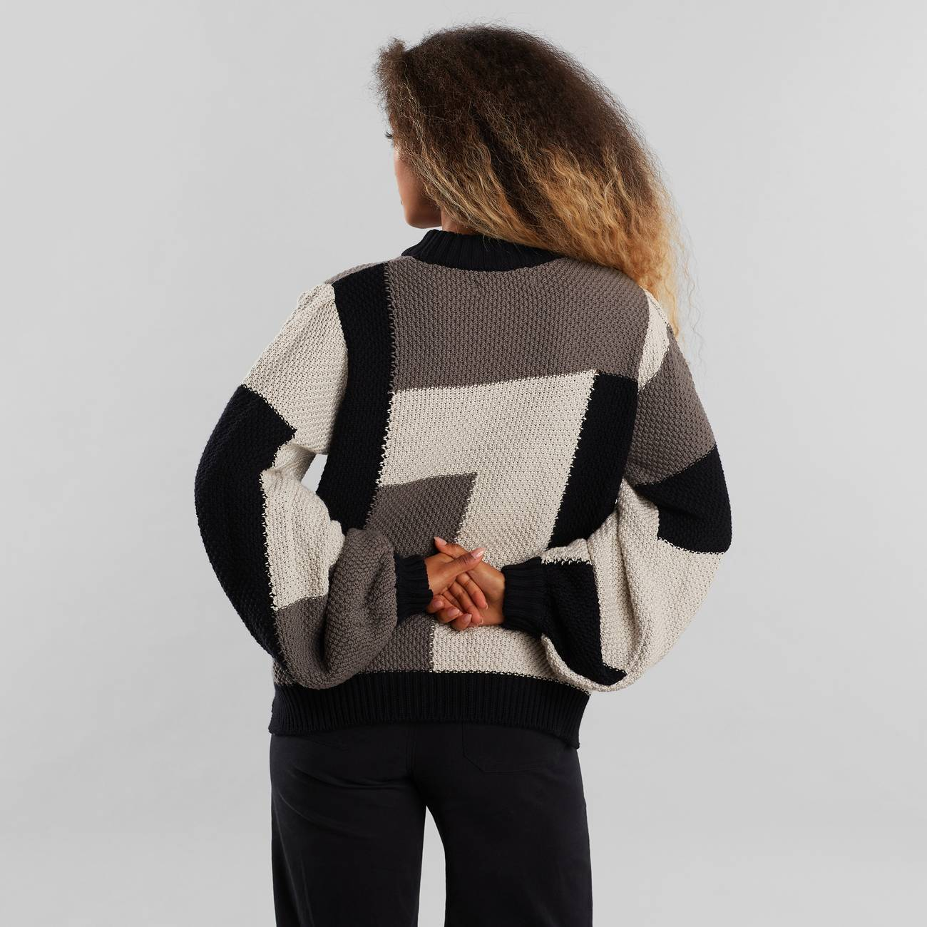 Sweater Knitted Rutbo Blocks Grey