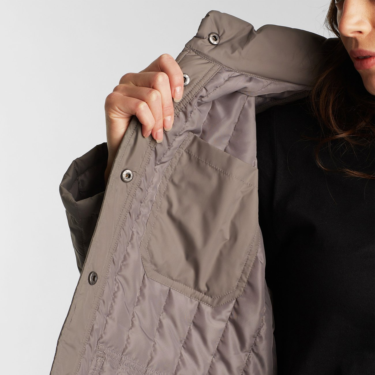 Quilted Coat Rosvik Grey