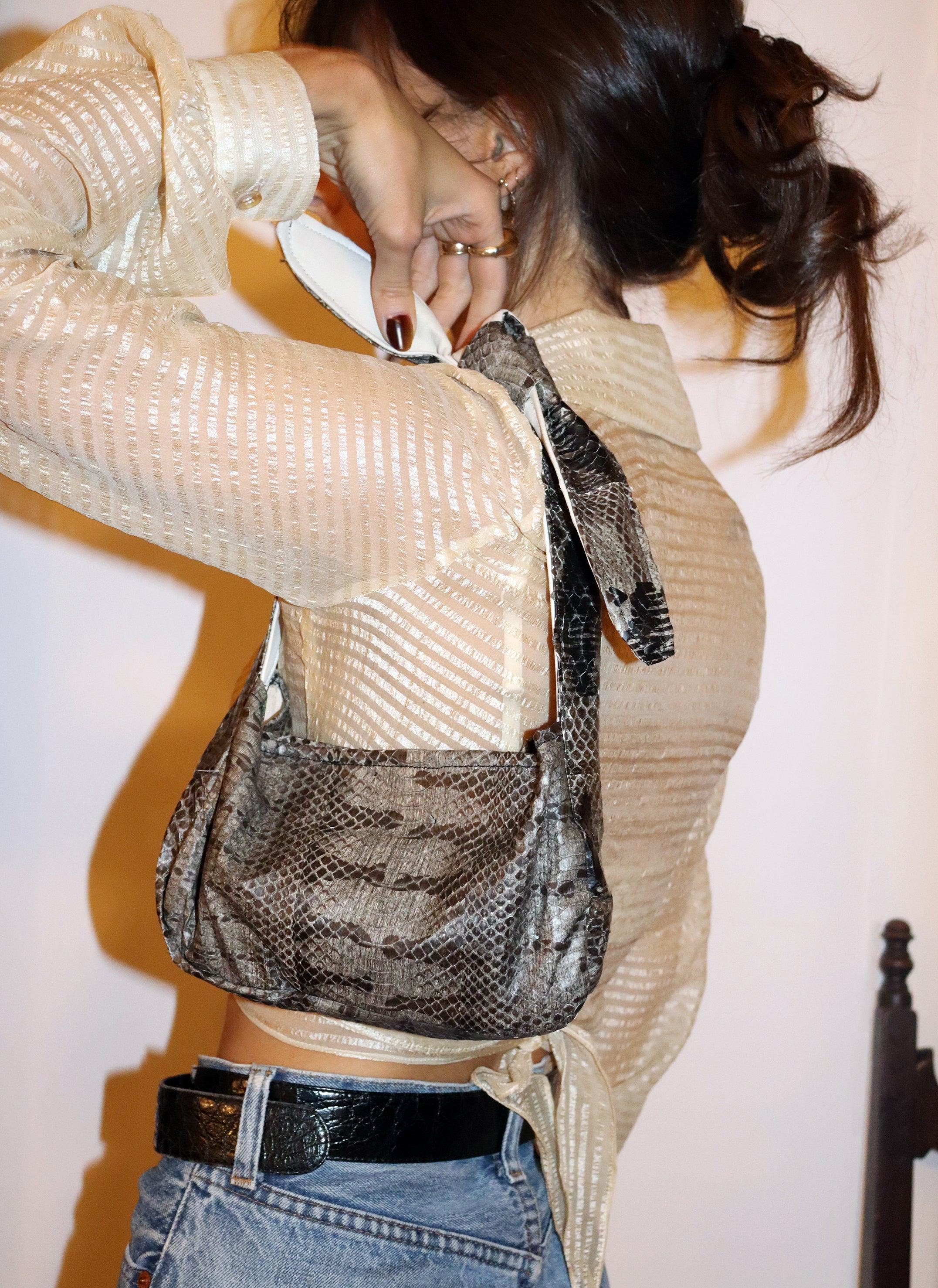 west village bag - grey snakeskin