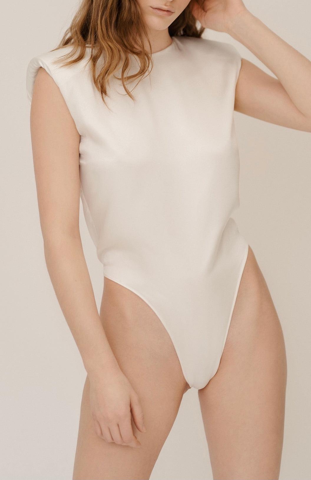 Herth Amy ivory organic silk padded shoulder bodysuit