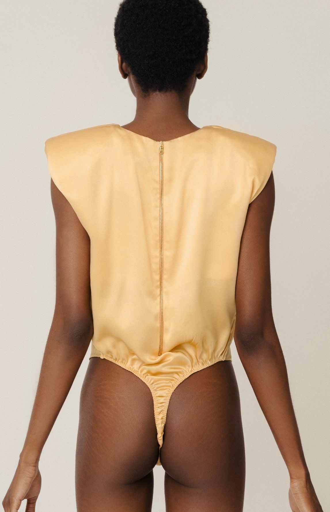 Herth Amy desert organic silk padded shoulder bodysuit