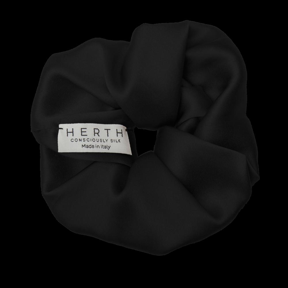 Edi black silk hair scrunchie