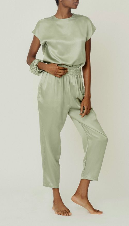 Roy tea organic silk trousers