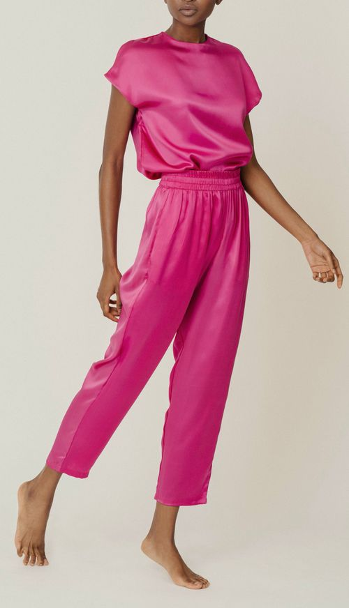 Roy orchid organic silk trousers