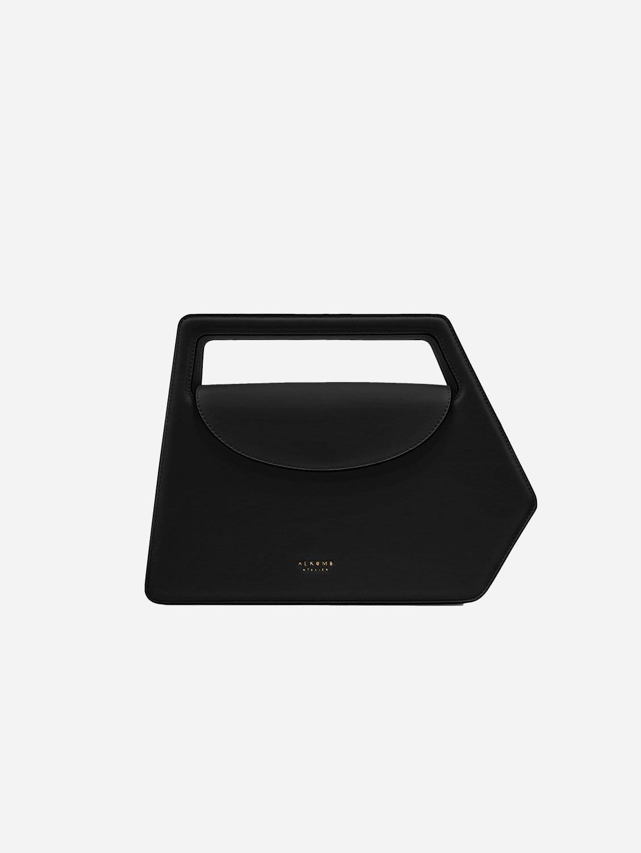 Fire Vegan Leather Geometric Flap Satchel | Black
