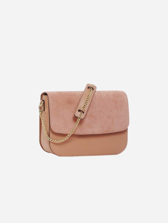 Brigitte Oxymore Apple Leather & Microsuede Vegan Handbag   Pink Nude