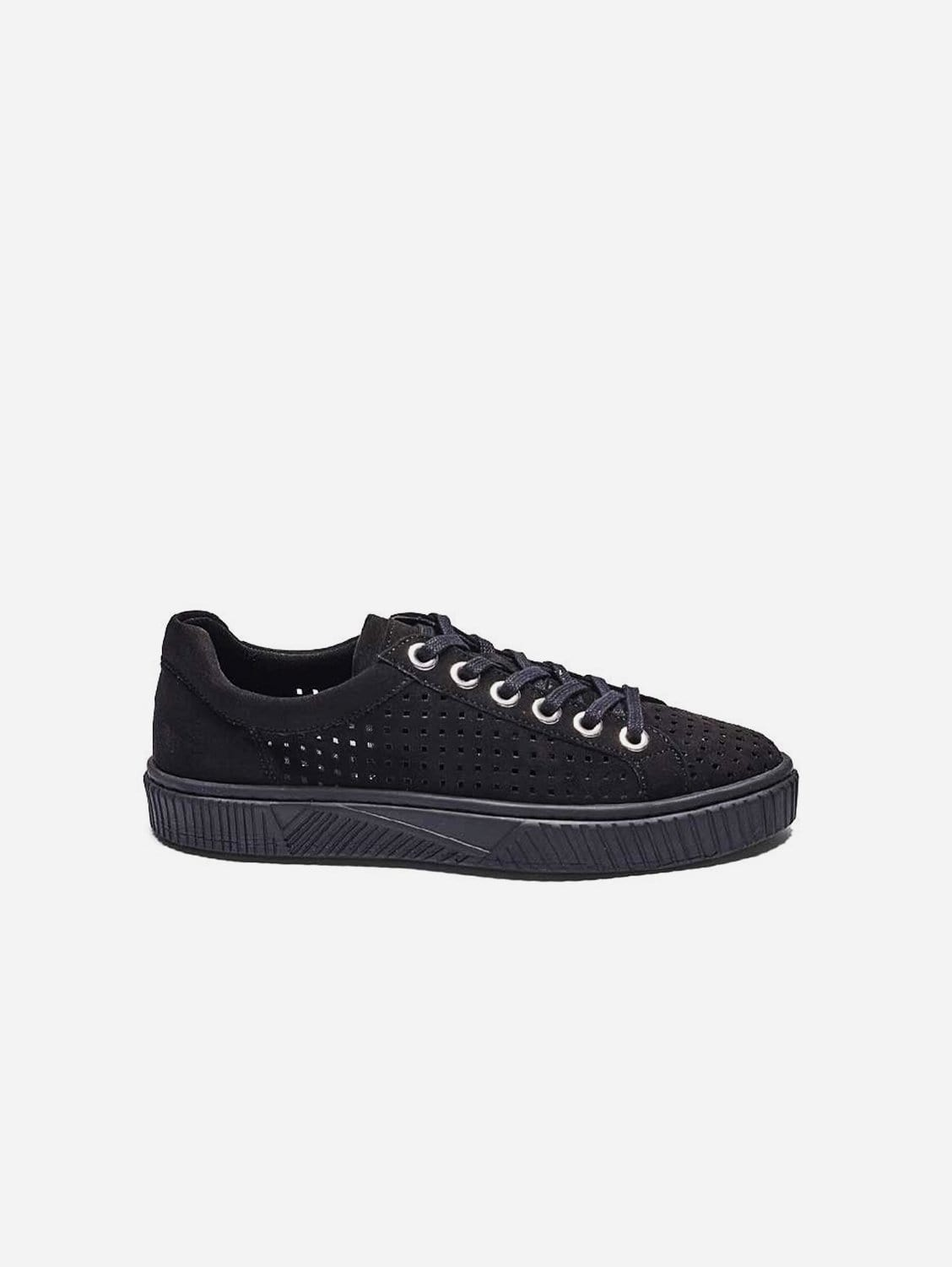 Jolie Recycled Polyester Vegan Suede Trainer | Black