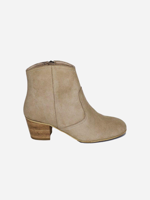 Nina Vegan Suede Heeled Ankle Boots | Beige