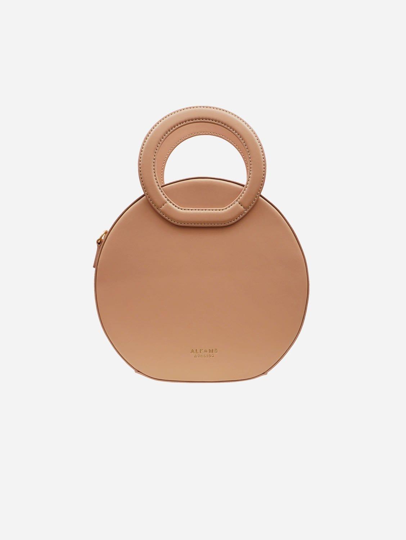 Earth Vegan Leather Round Crossbody Bag | Beige