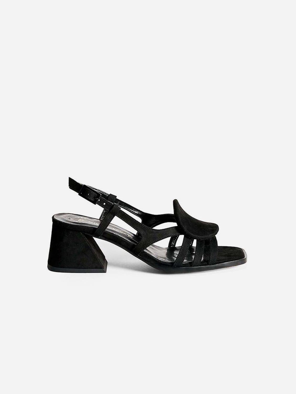 Hiedra Recycled Polyester Vegan Suede Heeled Sandal | Black