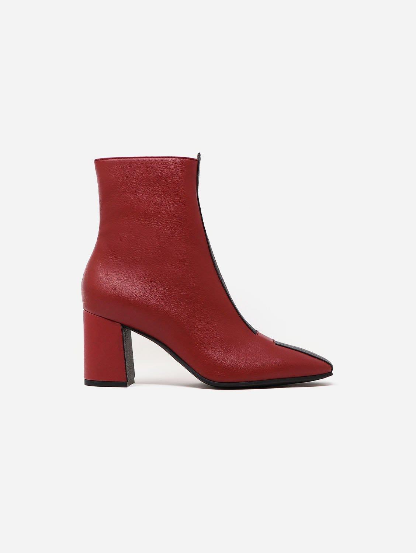 Jayne Apple Leather Vegan Boot   Scarlet Red & Black