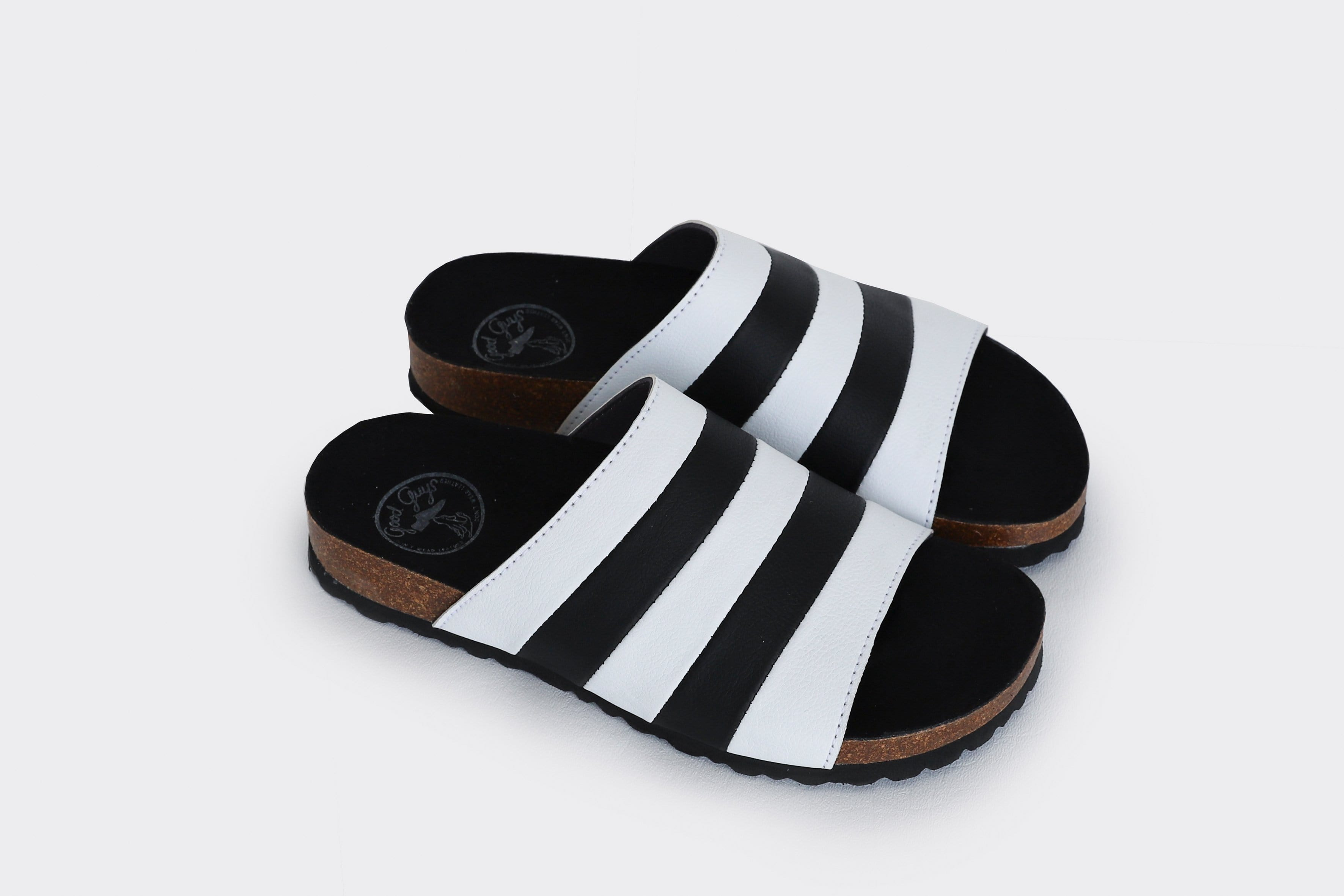 Good Guys Don't Wear Leather Jerry Apple Leather Vegan Slide-On Sandal | Black & White