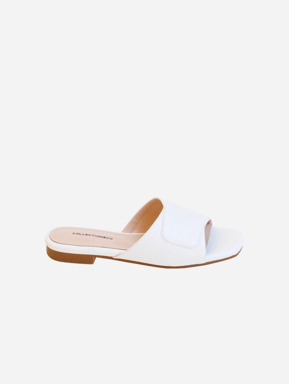 Elia Vegan Leather Cross Over Sandal | White