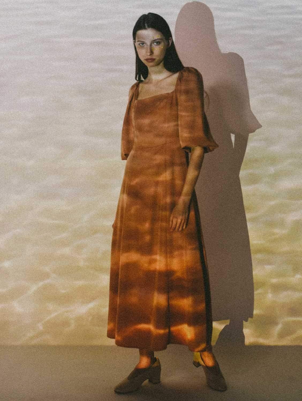 Ver Tencel™ Vegan Silk Puffy Sleeve Dress | Peachy Rose