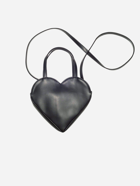Heart Vegan Leather Shoulder Bag   Black