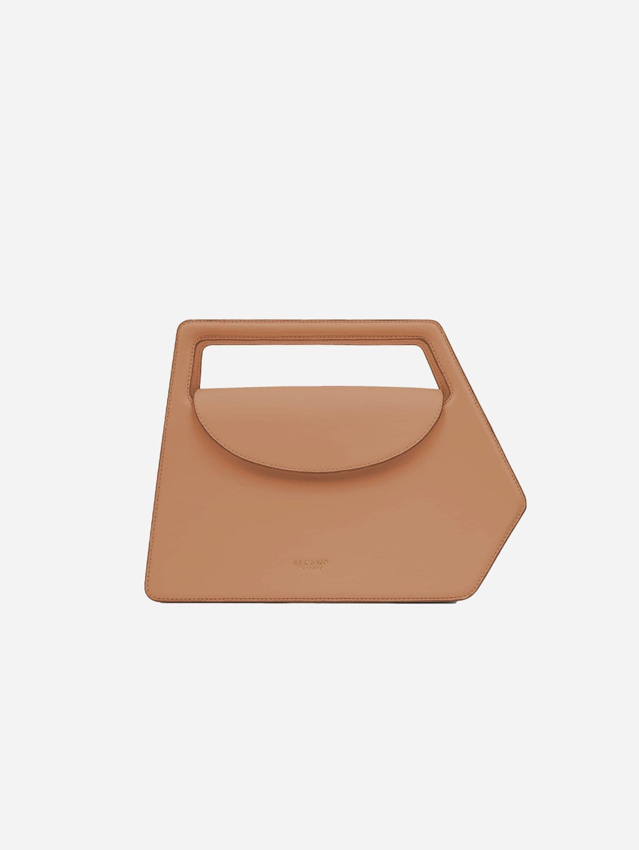Fire Vegan Leather Geometric Flap Satchel | Beige
