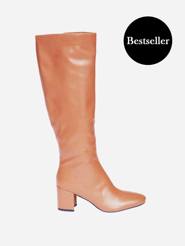 Elma Up-Cycled Vegan Leather Knee High Boot | Tan