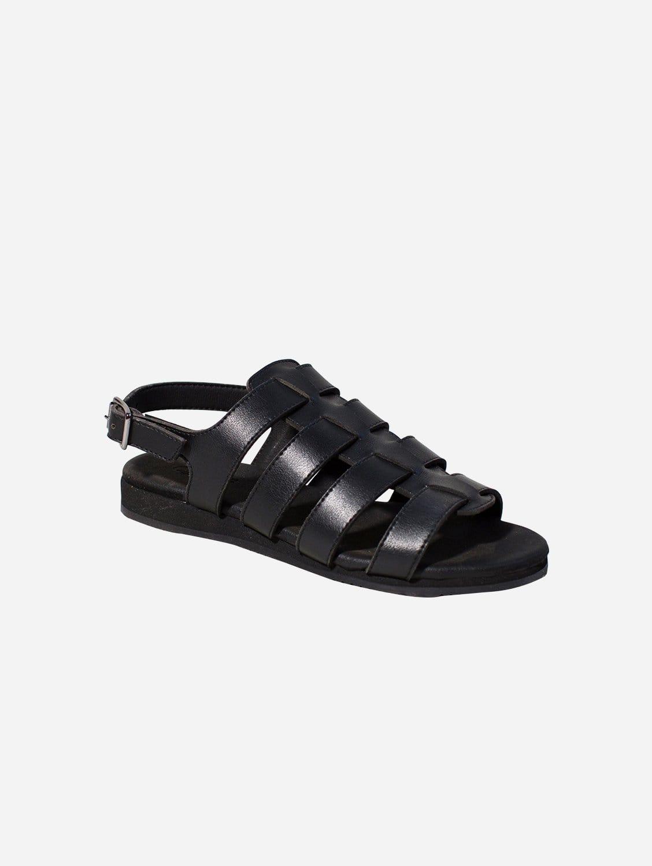 Spart Vegan Leather Spartiate Sandals   Black
