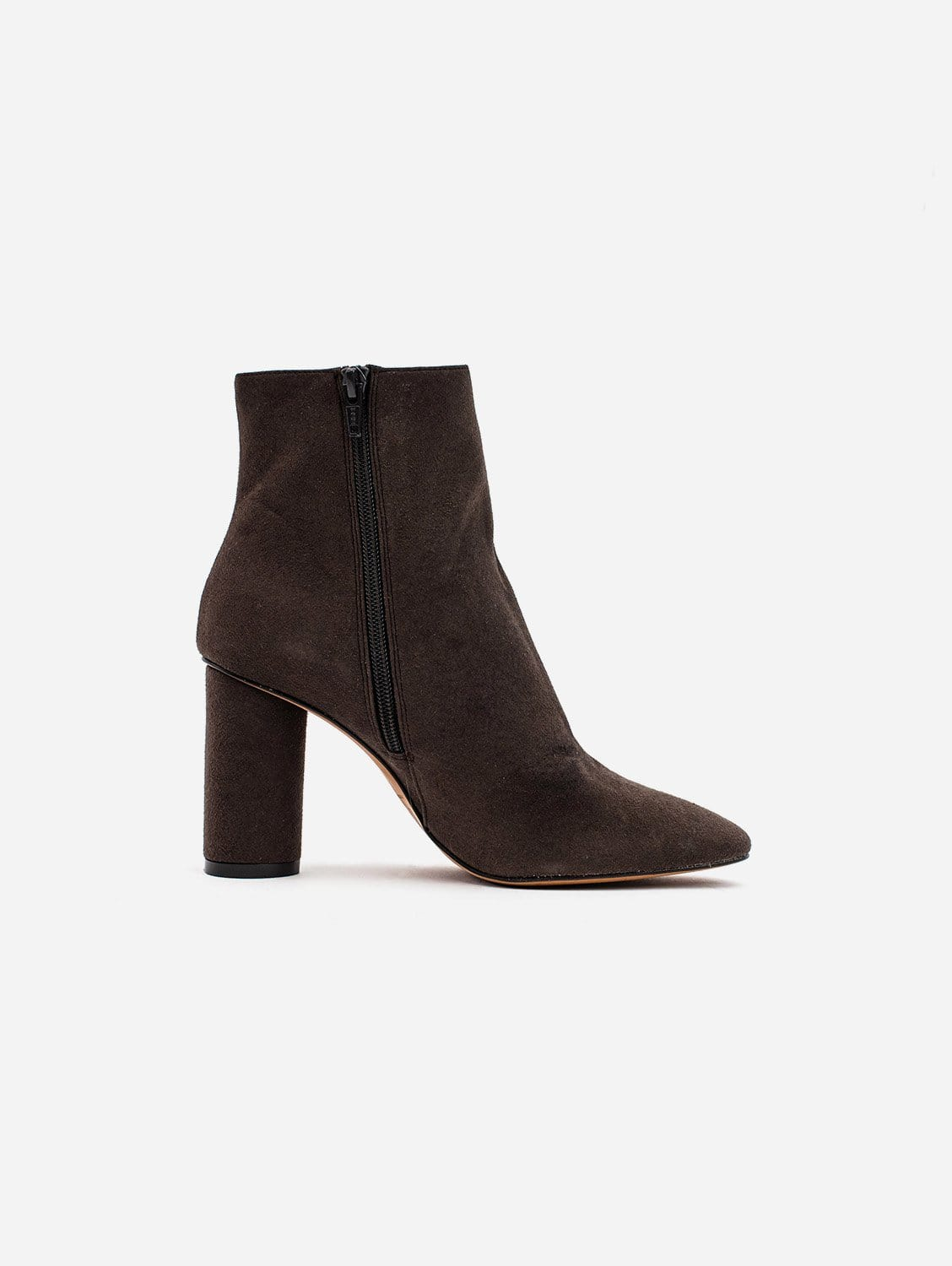 Isabella Vegan Suede Heeled Ankle Boots | Brown