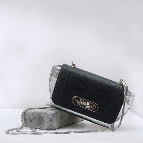 Alkeme Atelier Air Piñatex Vegan Leather Small Crossbody Bag | Black & SIlver