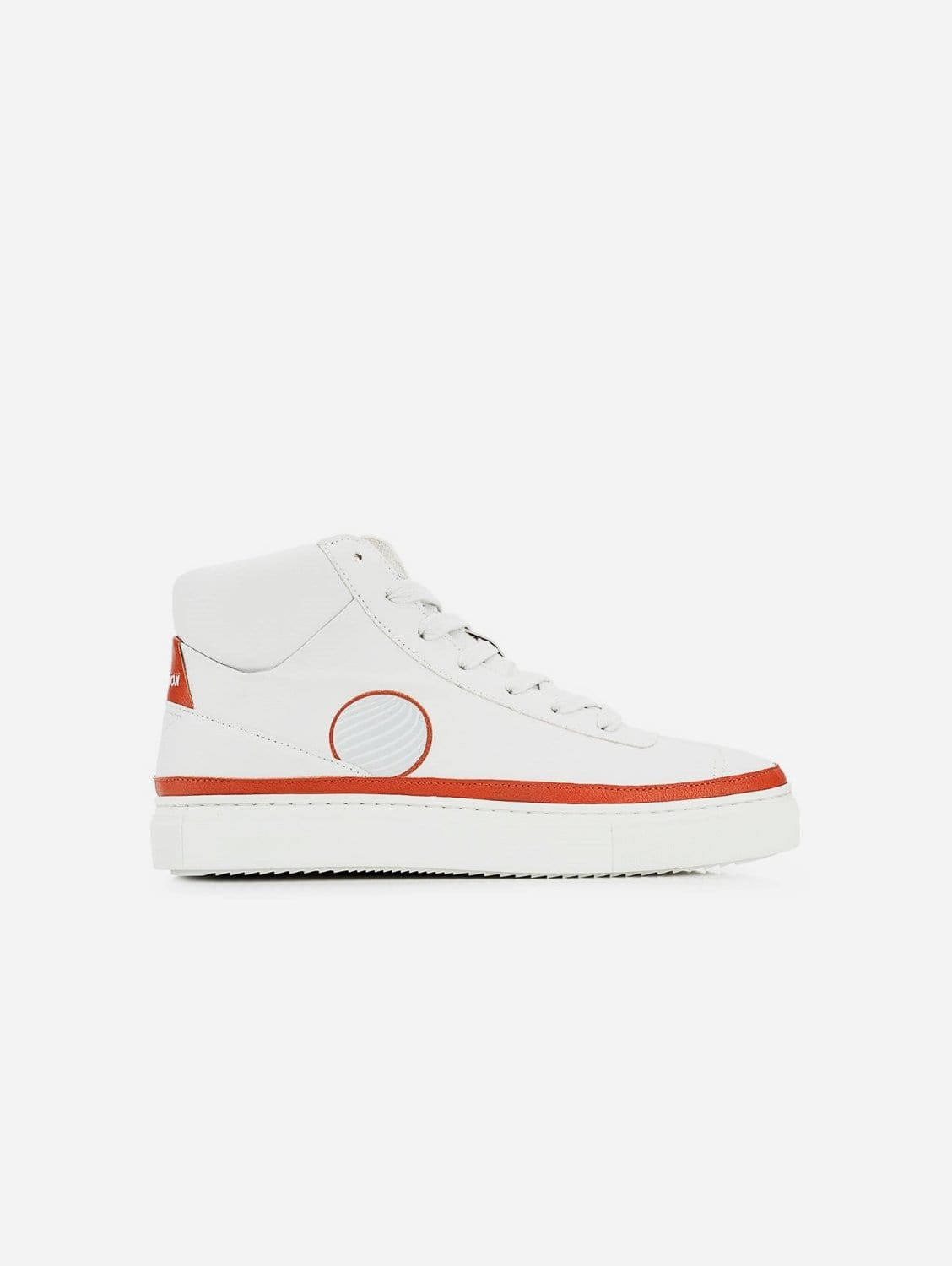 APL Apple Leather Vegan High-Top Trainer | White & Earth Red