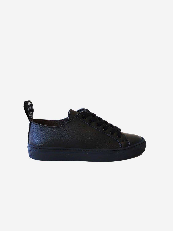 Samo Vegan Leather Trainer   Black