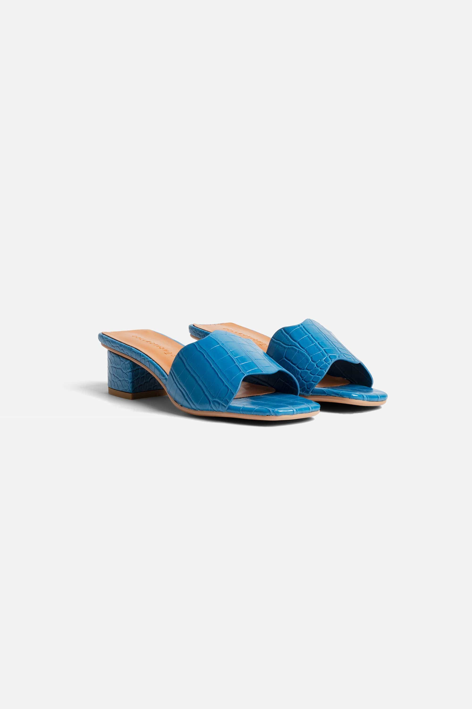 Collection & Co Kitty Up-Cycled Vegan Leather Mule | Blue Croc