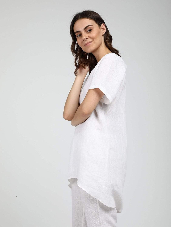 Organic Linen Cocoon Tunic | Multiple Colours