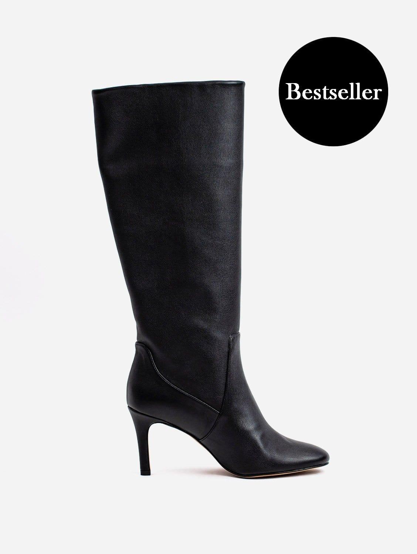 Chloe Vegan Leather Heeled Long Knee Boots   Black