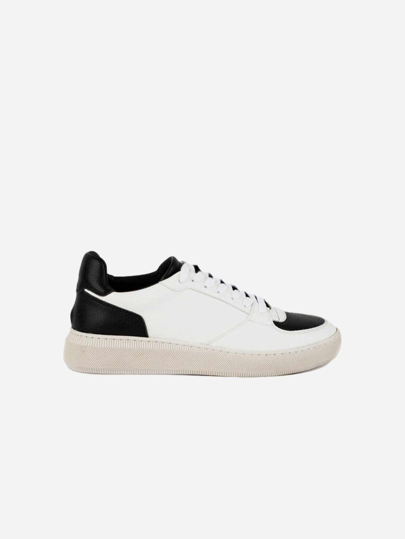 BÅLD Panelled Vegan Leather Trainer | Black & White