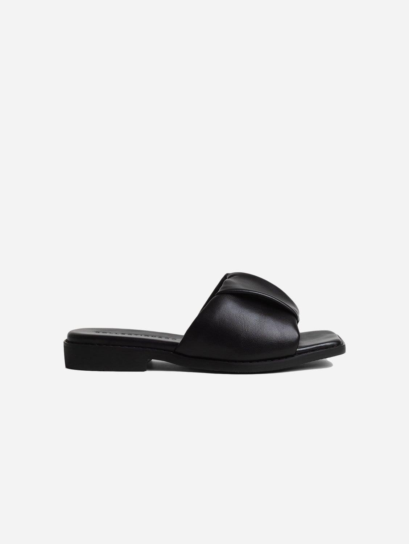 Nina Up-Cycled Vegan Leather Ruched Sandal | Black