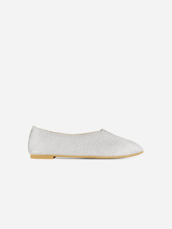 Rhythmic Vegan Ballet Flats | Silver Linen Canvas