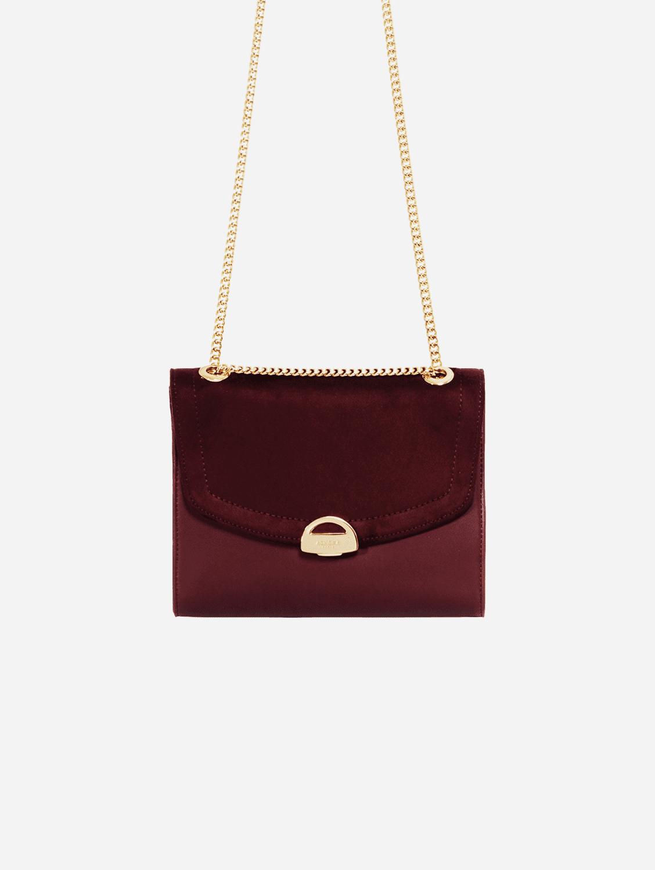 Mini Paname Oxymore Vegan Leather & Microsuede Crossbody Bag   Burgundy