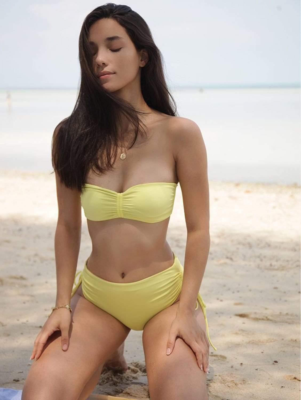 Vida ECONYL® Bandeau Bikini Top   Reversible Lemon/Beige