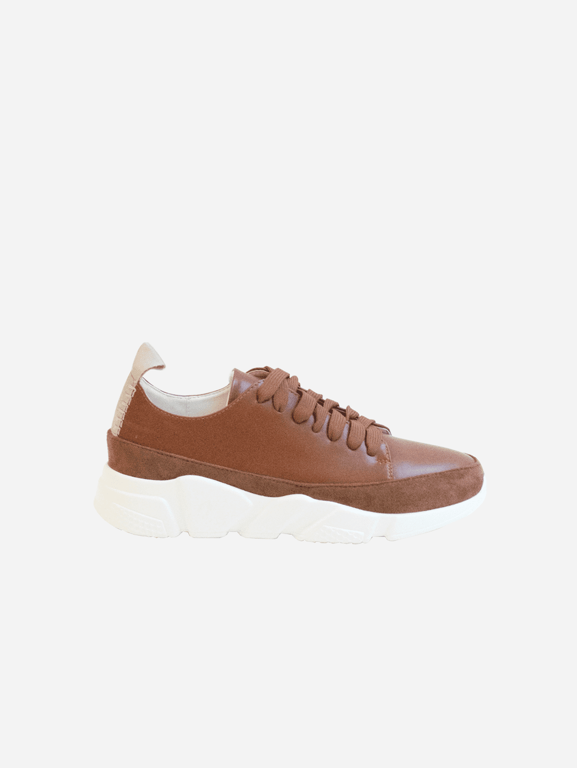 Gia Vegan Suede & Leather Trainer | Two-Tone Brown
