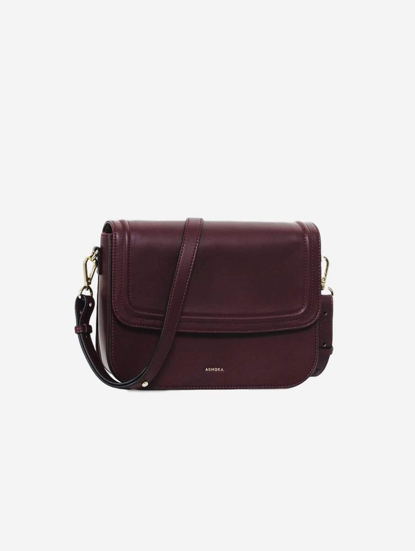 Brigitte Couture Vegan Leather Handbag   Burgundy