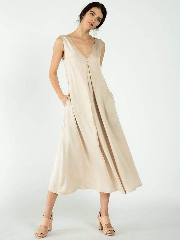 TENCEL™ Vegan Silk Deep V-neck Dress | Multiple Colours