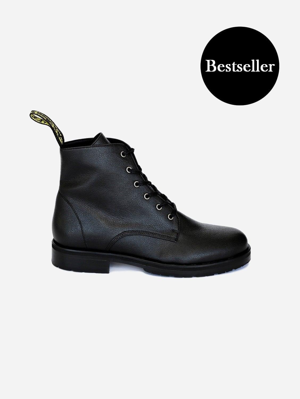 Blaze Apple Leather Vegan Ankle Boots | Black