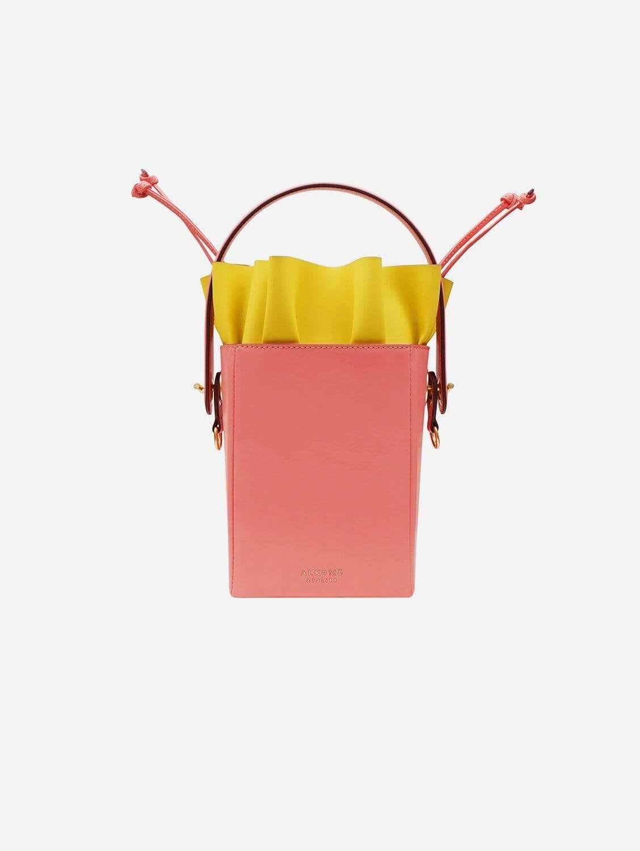 Water Vegan Leather Square Flower Bucket Bag | Pink