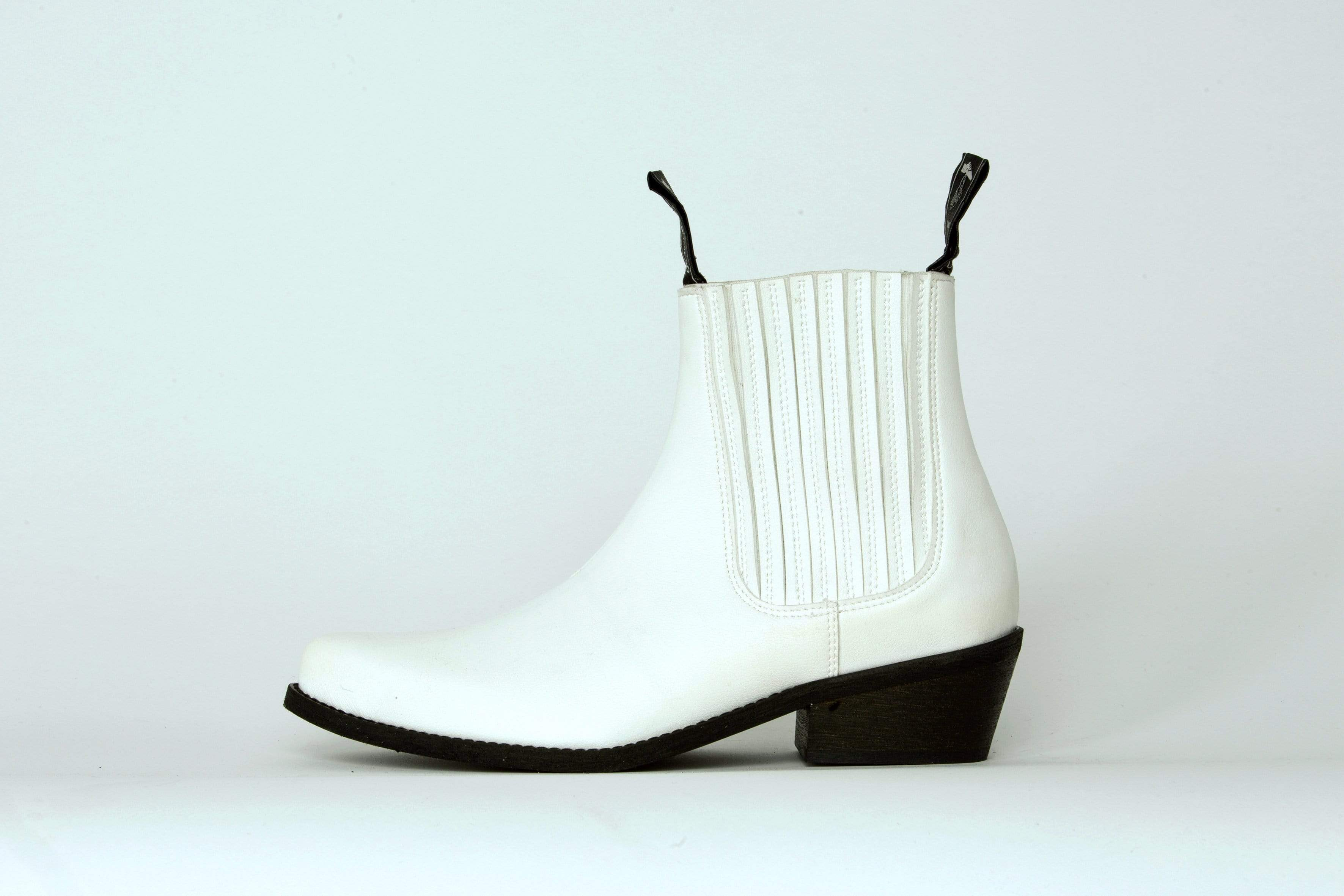 Good Guys Don't Wear Leather Duke Vegan Leather Cowboy Boots | White