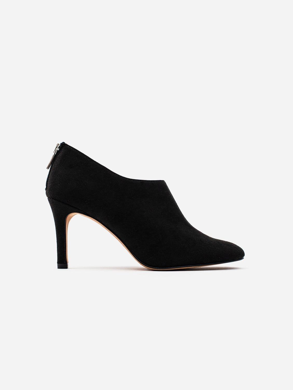 Allkind Olivia Black Vegan Suede Heeled Boots | Black