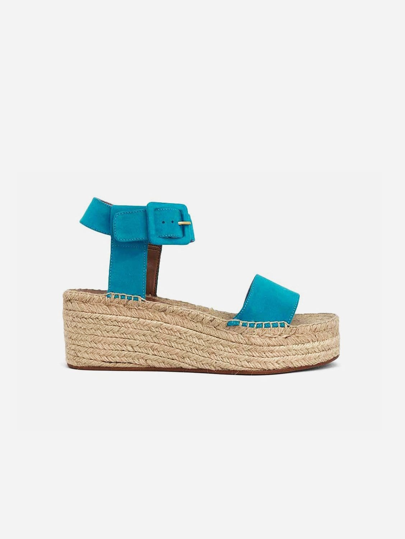 Jen Recycled Polyester Vegan Suede Platform Sandal | Aquamarine