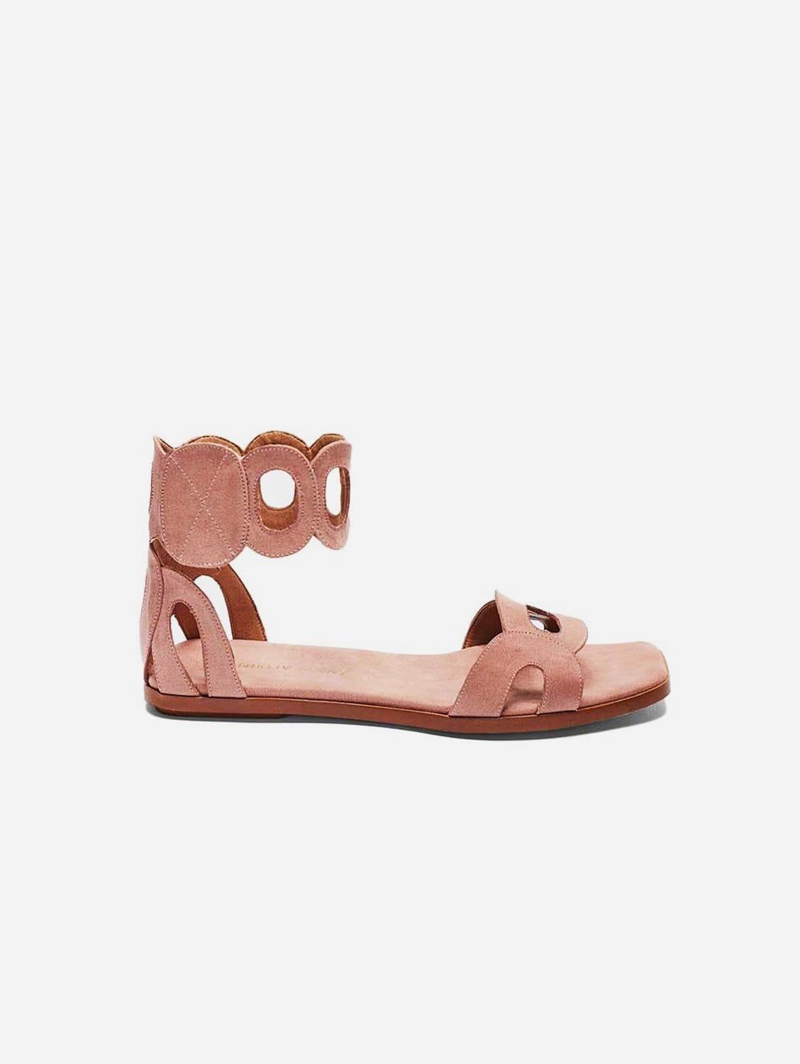 Hortensia Recycled Polyester Vegan Suede Ankle Sandal | Pink