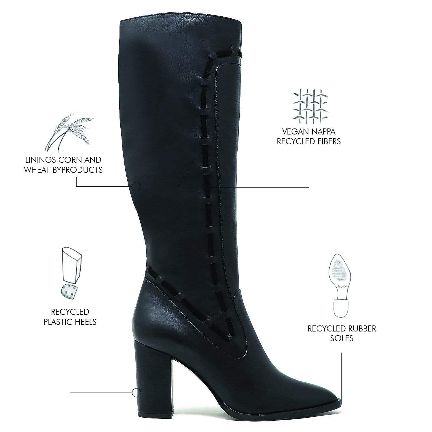 Sylven New York Strada Recycled Fiber Vegan Leather & Suede Knee-High Boot | Black